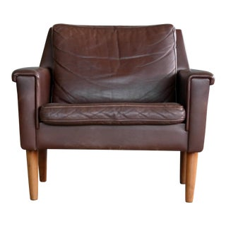 Georg Thams Classic Easy Chair in Chestnut Colored Leather, 1960s