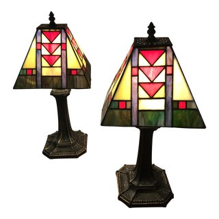 Vintage Tiffany Style Lamps - A Pair