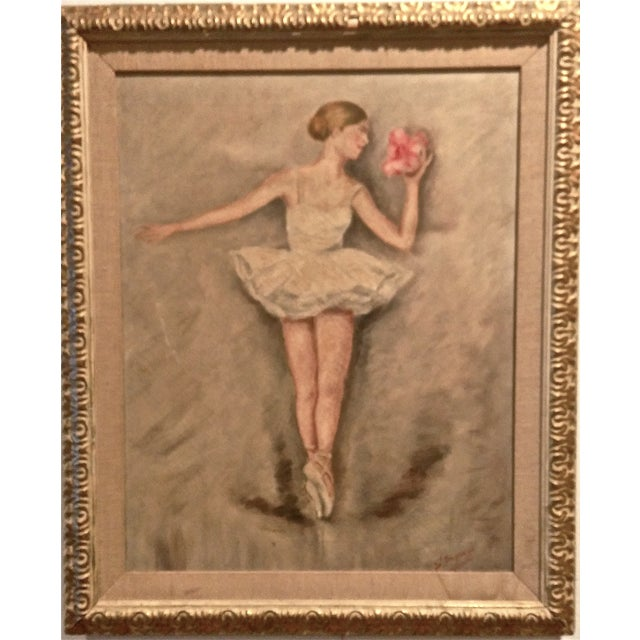 "Vintage Painting on Canvas - ""Ballerina"" - Image 1 of 6"