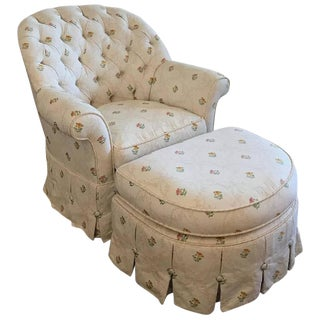 French Nobilis Tufted Arm Chair & Ottoman