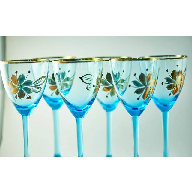 Sea Blue & Gold Leaf Decanter & Glassware Set - Image 6 of 10