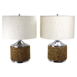 Modernist Cork & Chrome Lamps - A Pair