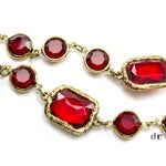 Image of Chanel Vintage Ruby Red Chicklet Necklace