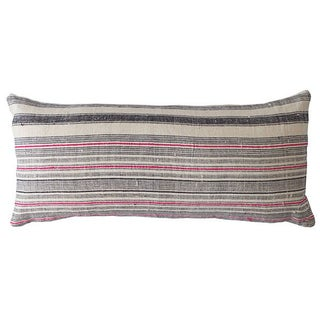 Vintage Handwoven Batik Hemp Lumbar Pillow