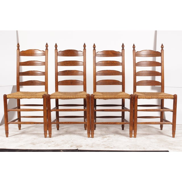 19th-C. English Rush Seat Dining Chairs - S/4 - Image 2 of 8