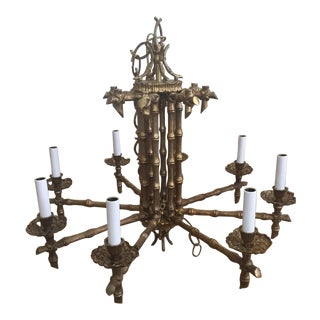 Hollywood Regency Brass & Faux Bamboo Chandelier