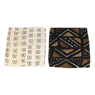 Mudcloth Tribal Throw Pillow Covers - A Pair