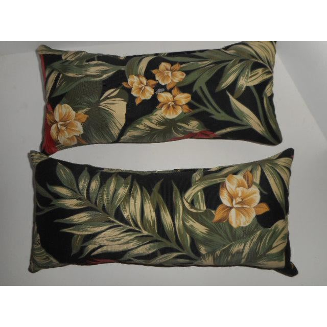 Tropical Palm Leaf & Orchid Pillows - a Pair - Image 3 of 8