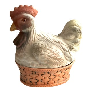 Vintage Porcelain Rooster Covered Trinket Box