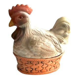 Vintage Porcelain Rooster Covered Trinket Box