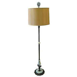 1920's Brass Floor Lamp with Slag Glass