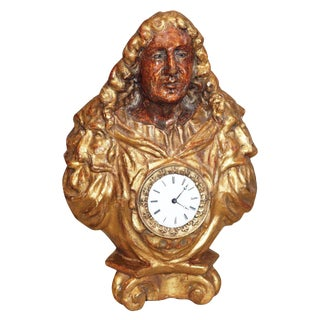 Giltwood and Polychrome Bust with Clock