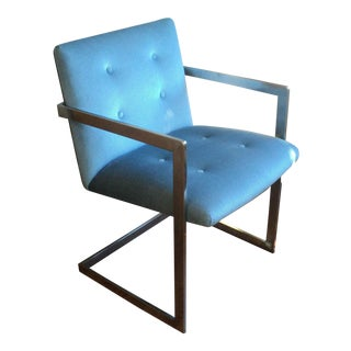 Milo Baughman Style Flat Bar Chrome Chair