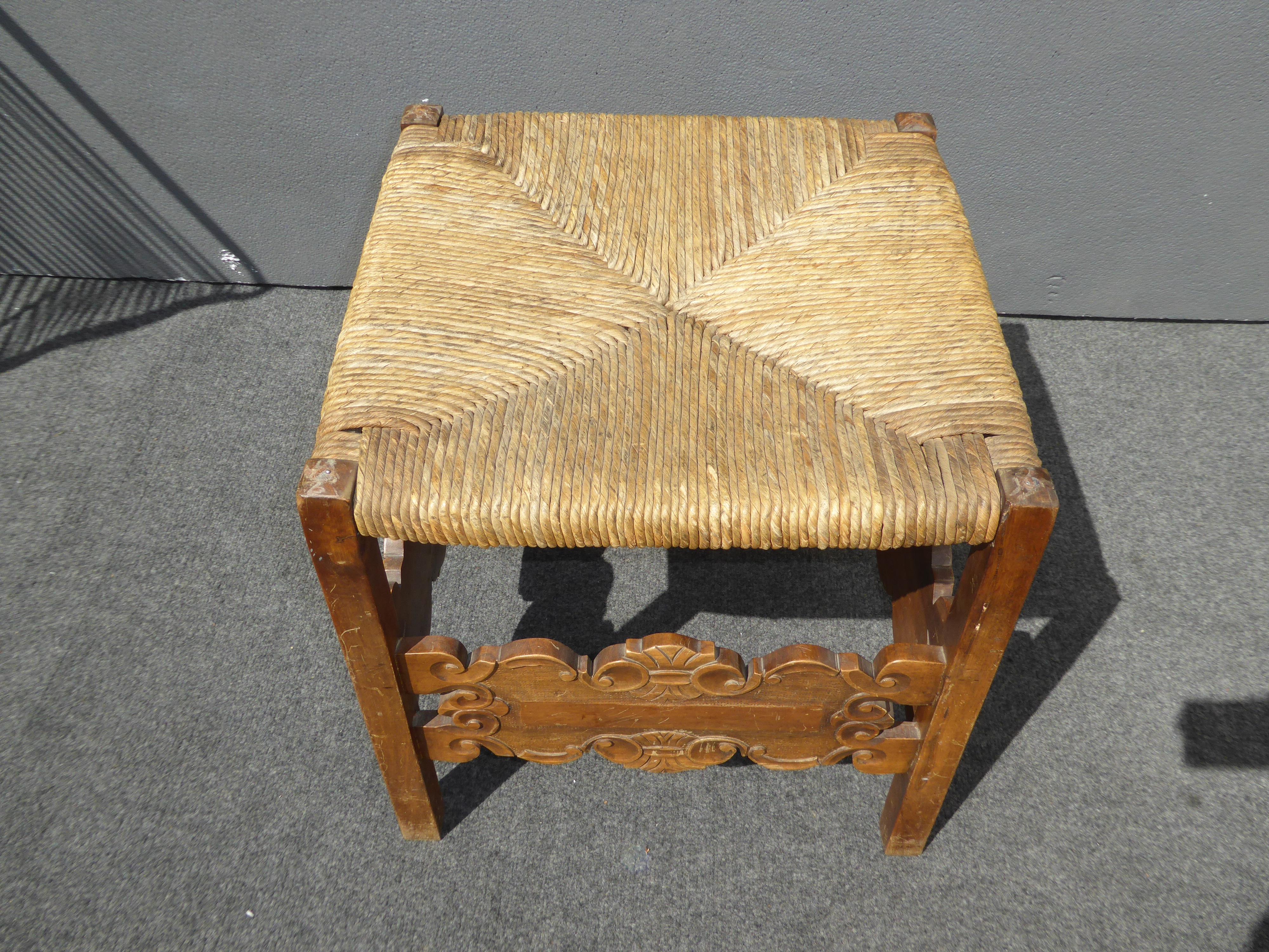 Spanish-Style Rush Seat Stool - Image 6 of 9  sc 1 st  Chairish & Spanish-Style Rush Seat Stool   Chairish islam-shia.org