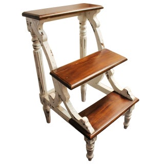Country French Distressed White Library Step Table