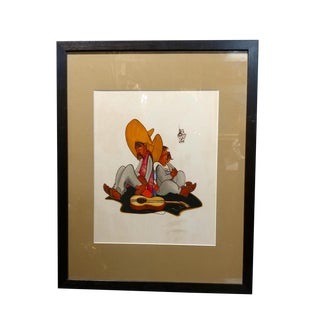 Leo Politi Two Amigos With Sombreros 1940s Watercolor Painting