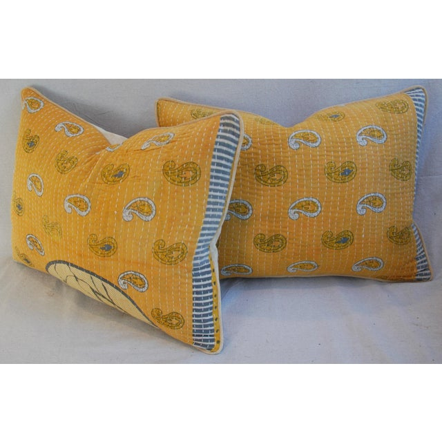 Custom Boho-Chic India Kantha Textile Pillows - A Pair - Image 9 of 10