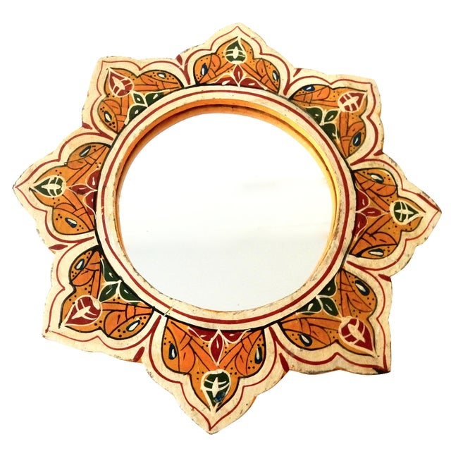 Hand-Painted Moroccan Sunburst Mirror - Image 1 of 5