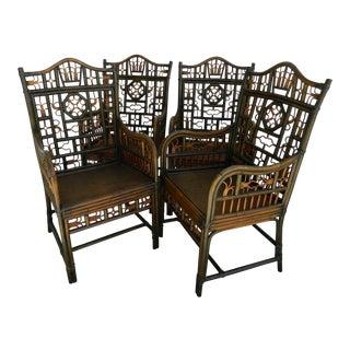 Vintage Boho Chic Rattan Chairs - Set of 4