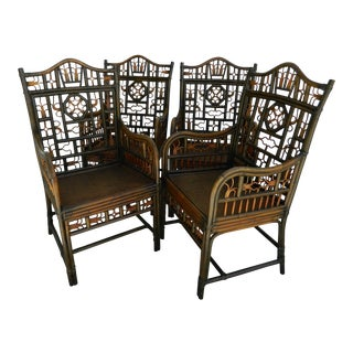 Vintage Boho Chic Rattan Chairs - Set of 4