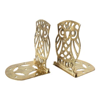 Whimsical Deco Brass Owl Bookends - A Pair