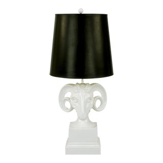 Chapman White Ceramic Ram's Head Table Lamp