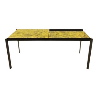 Pierre Guariche Mid Century Cocktail Table in Black Lacquered Steel and Ceramic