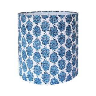Large Lacefield Designs Aqua Block Print Custom Drum Lamp Shade