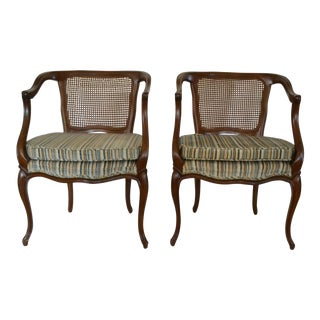 French Cane Back Lounge Chairs - A Pair