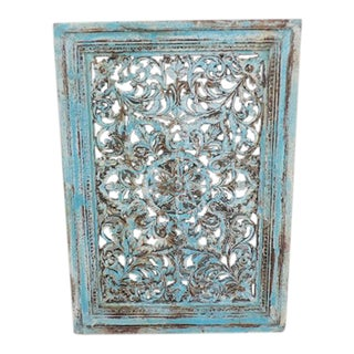 Blue Distressed Carved Wood Panel