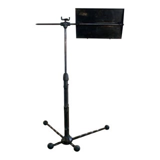Antique Vintage Metal Steel Cast Iron Adjustable Sheet Music Stand/Tray