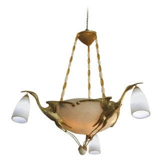 Albert Cheuret Style 24k Gold Finished Bronze Crane Chandelier