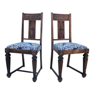 Folk Print 1930's Carved Craftsmen Dining Chairs - a Pair