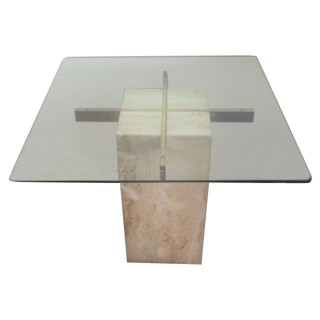 Brass & Glass Travertine End Table - Image 1 of 7