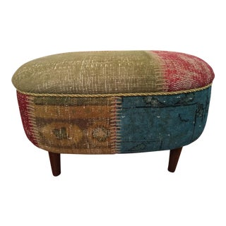 Overdyed Turkish Carpet Ottoman