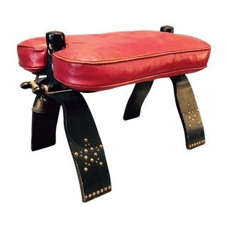 Moroccan Red Leather Camel Saddle Stool