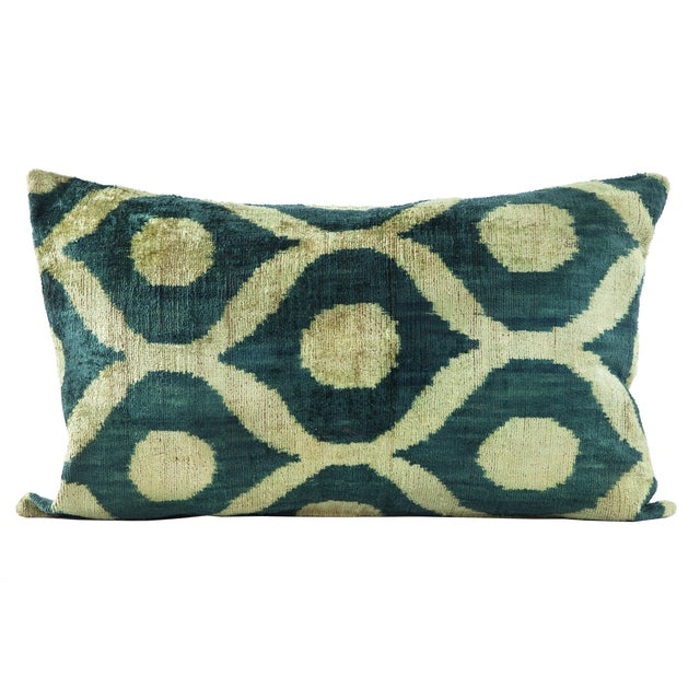 Image of Green Silk Velvet Ikat Pillow