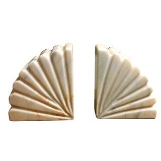 Art Deco Onyx Fan Bookends - Pair