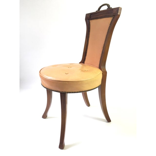 Regency Style Brass Handle Leather Chair - Image 4 of 8