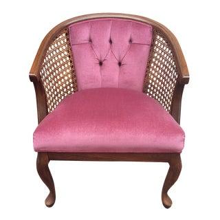Hollywood Regency Mauve Velvet Caned Barrel Chair