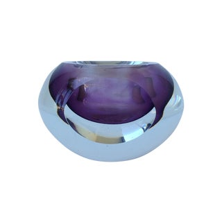 Italian Murano Sommerso Purple & Clear Bowl