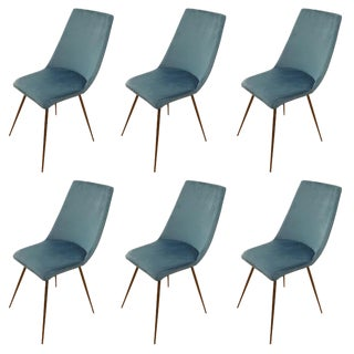 Set of Six Sleek Mid Century Dining Chairs