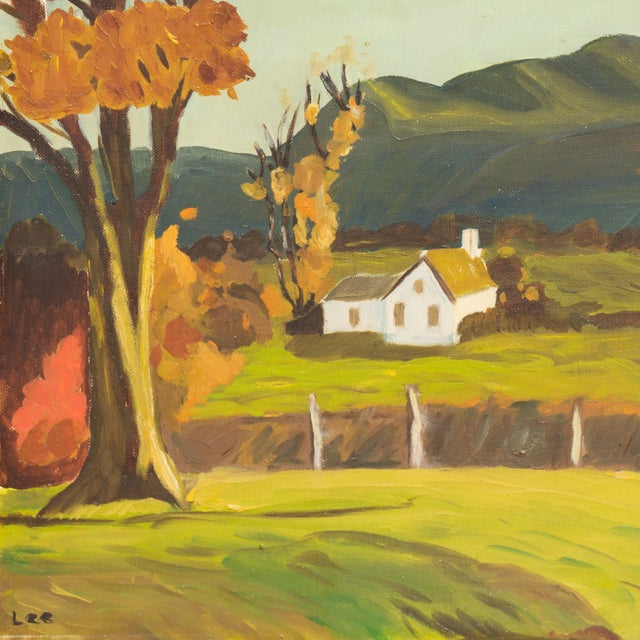 Vintage 1960 Farmhouse in Autumn Oil Painting - Image 2 of 6