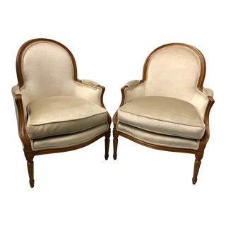 Pair of Henredon Velvet French Style Arm Chairs