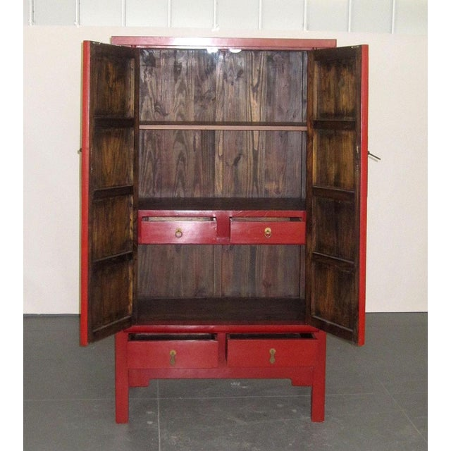 Chinese Ming-Style Red Lacquer Cabinet Armoire - Image 7 of 8