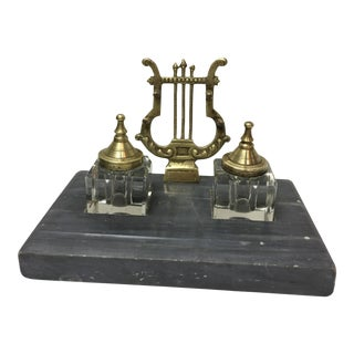Exquisite French Lyre Motif Inkwells