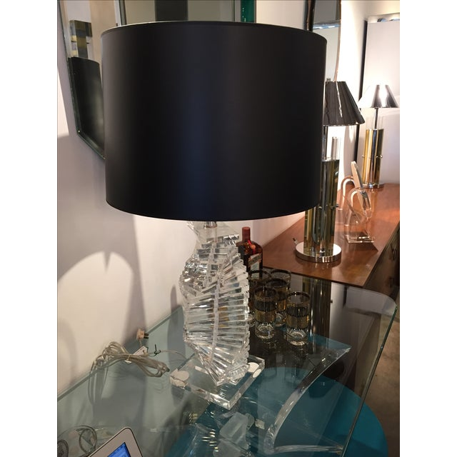 Image of Manner of Karl Springer Helix Lucite Table Lamp