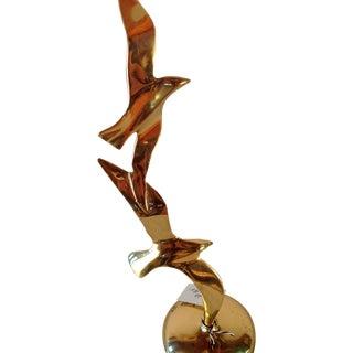 Brass Seagulls Sculpture