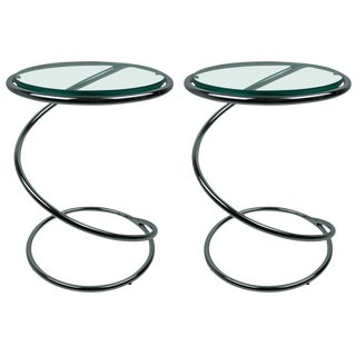 Pair of Polished Chrome and Glass Spiral Tables, Leon & Irvin Rosen, Pace, 1970s