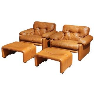 Tobia Scarpa Coronado Chairs With Ottomans - Pair